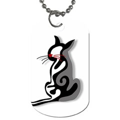 Elegant abstract cat  Dog Tag (One Side)