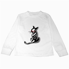 Elegant abstract cat  Kids Long Sleeve T-Shirts