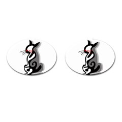 Elegant abstract cat  Cufflinks (Oval)