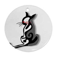 Elegant abstract cat  Round Ornament (Two Sides)