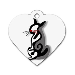 Elegant abstract cat  Dog Tag Heart (One Side)