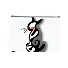 Elegant abstract cat  Cosmetic Bag (Large)