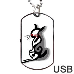 Elegant abstract cat  Dog Tag USB Flash (Two Sides)