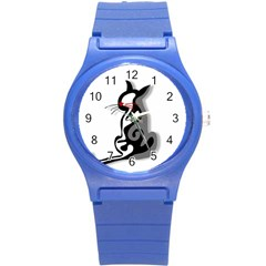 Elegant abstract cat  Round Plastic Sport Watch (S)