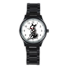 Elegant abstract cat  Stainless Steel Round Watch
