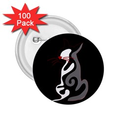 Gray elegant cat 2.25  Buttons (100 pack)