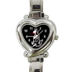 Gray elegant cat Heart Italian Charm Watch