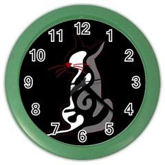 Gray elegant cat Color Wall Clocks