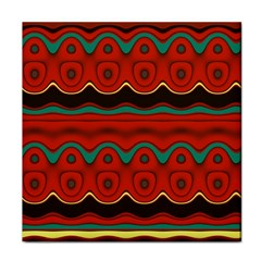 Orange Black and Blue Pattern Tile Coasters