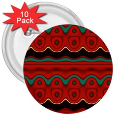 Orange Black and Blue Pattern 3  Buttons (10 pack)