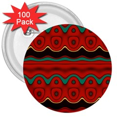 Orange Black and Blue Pattern 3  Buttons (100 pack)