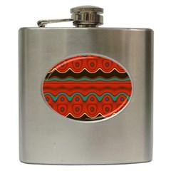 Orange Black and Blue Pattern Hip Flask (6 oz)