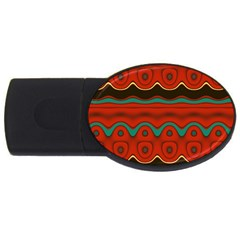 Orange Black and Blue Pattern USB Flash Drive Oval (2 GB)