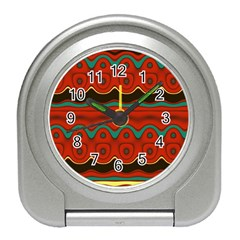 Orange Black and Blue Pattern Travel Alarm Clocks