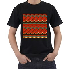 Orange Black and Blue Pattern Men s T-Shirt (Black) (Two Sided)