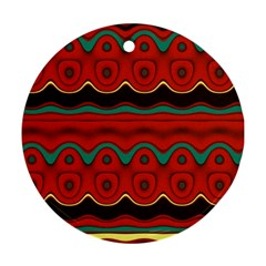 Orange Black and Blue Pattern Round Ornament (Two Sides)