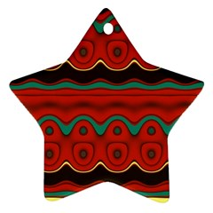 Orange Black and Blue Pattern Star Ornament (Two Sides)