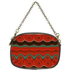 Orange Black and Blue Pattern Chain Purses (One Side)