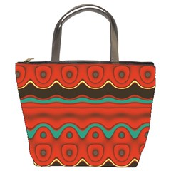 Orange Black And Blue Pattern Bucket Bags