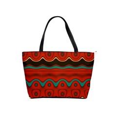 Orange Black and Blue Pattern Shoulder Handbags