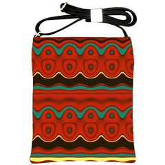 Orange Black and Blue Pattern Shoulder Sling Bags