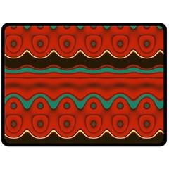 Orange Black and Blue Pattern Fleece Blanket (Large)