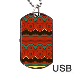 Orange Black and Blue Pattern Dog Tag USB Flash (One Side)