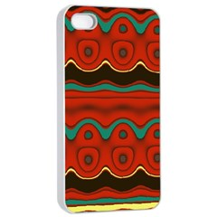 Orange Black and Blue Pattern Apple iPhone 4/4s Seamless Case (White)