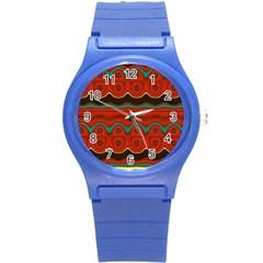 Orange Black and Blue Pattern Round Plastic Sport Watch (S)