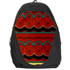 Orange Black and Blue Pattern Backpack Bag