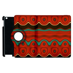 Orange Black and Blue Pattern Apple iPad 2 Flip 360 Case
