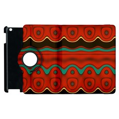 Orange Black and Blue Pattern Apple iPad 3/4 Flip 360 Case