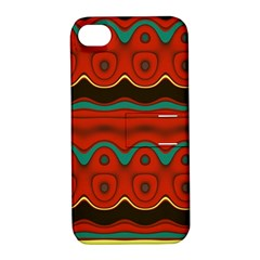 Orange Black and Blue Pattern Apple iPhone 4/4S Hardshell Case with Stand