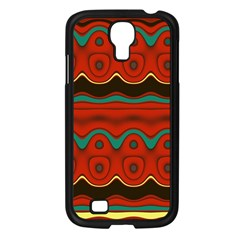Orange Black and Blue Pattern Samsung Galaxy S4 I9500/ I9505 Case (Black)