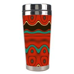 Orange Black and Blue Pattern Stainless Steel Travel Tumblers