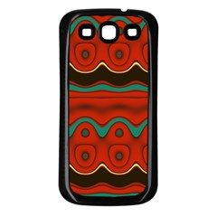 Orange Black And Blue Pattern Samsung Galaxy S3 Back Case (black)