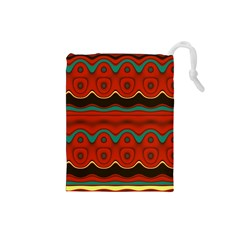 Orange Black and Blue Pattern Drawstring Pouches (Small)