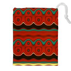 Orange Black and Blue Pattern Drawstring Pouches (XXL)