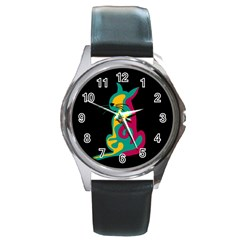 Colorful abstract cat  Round Metal Watch