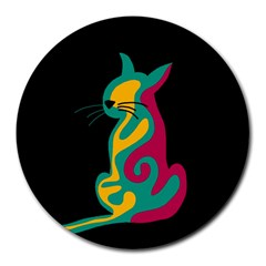 Colorful abstract cat  Round Mousepads