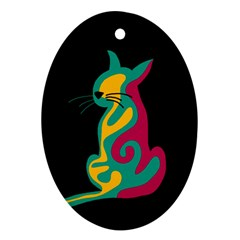 Colorful abstract cat  Ornament (Oval)