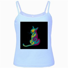 Colorful abstract cat  Baby Blue Spaghetti Tank