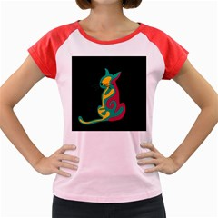 Colorful abstract cat  Women s Cap Sleeve T-Shirt