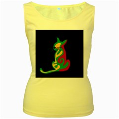 Colorful abstract cat  Women s Yellow Tank Top