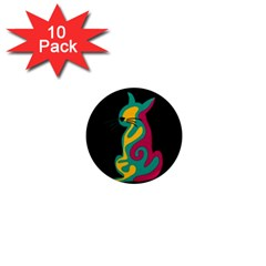 Colorful abstract cat  1  Mini Magnet (10 pack)