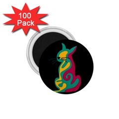 Colorful abstract cat  1.75  Magnets (100 pack)