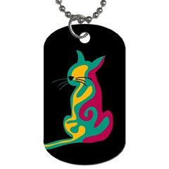 Colorful abstract cat  Dog Tag (Two Sides)