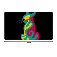 Colorful abstract cat  Business Card Holders