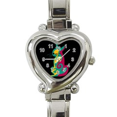 Colorful abstract cat  Heart Italian Charm Watch