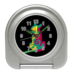 Colorful abstract cat  Travel Alarm Clocks